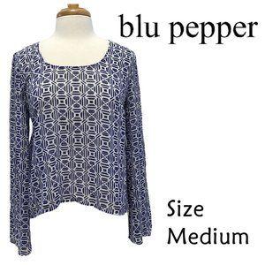 blu pepper Geometric Print Bell Sleeves Size M